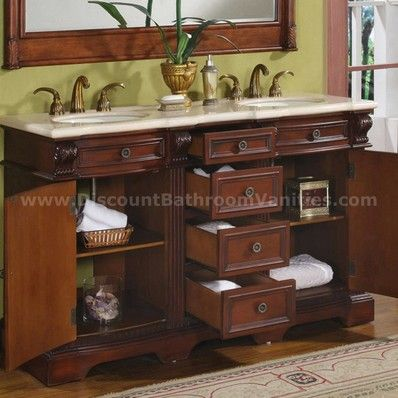 Silkroad Exclusive Traditional 58 Double Sink Bathroom Vanity