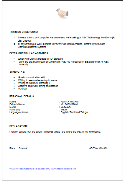 Over 10000 CV and Resume Samples with Free Download: Example of ...
