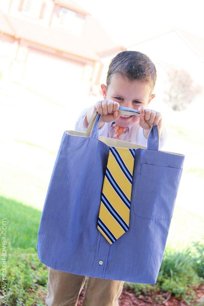 Turn a Men\'s Shirt/Tie into a Tote (aka: little boy church bag ...