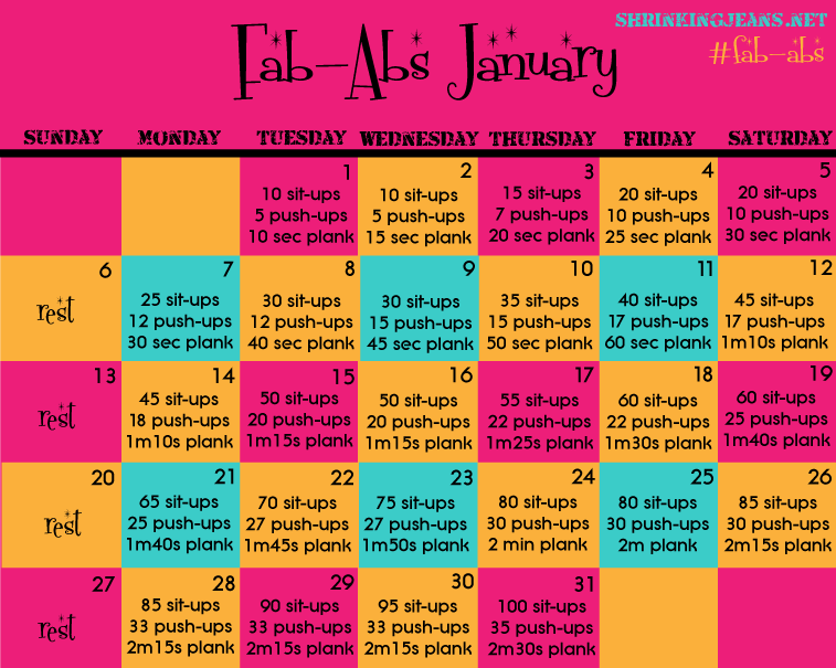 FabAbs January Monthly Workout Calendar  Heathly MealsSnacks
