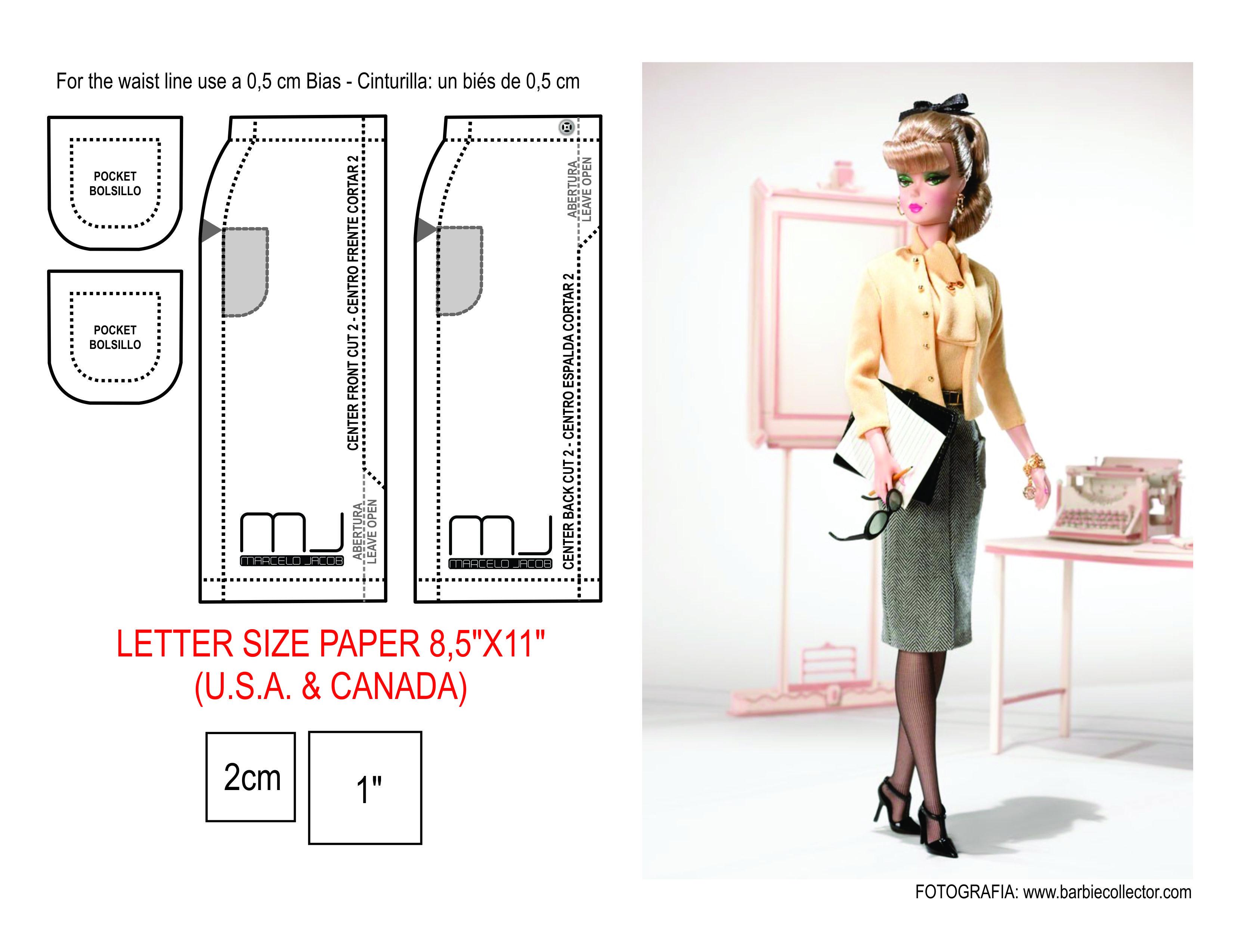 Fashion designer Silkstone Barbie doll skirt pattern LETTER SIZE ...