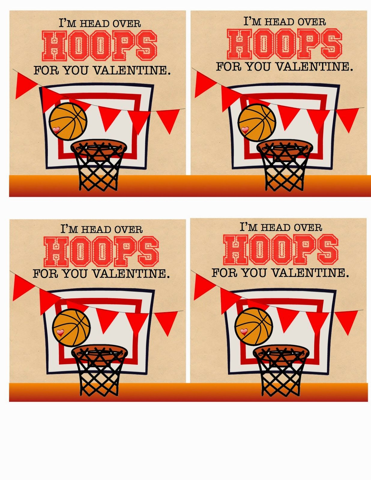 Basketball Valentine Cards, Class Valentines