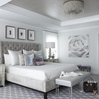 Lovely Gray And Silver Bedroom With Gray Tray Ceiling