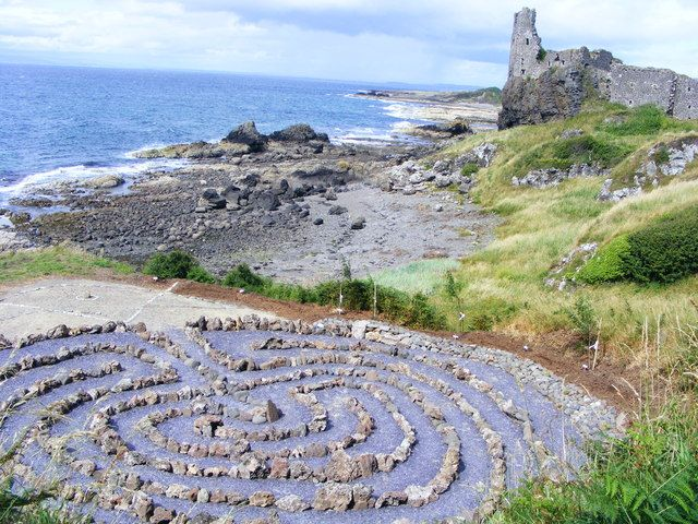Dunure Castle and labyrinth in Kennedy Park, Ayrshire, Scotland