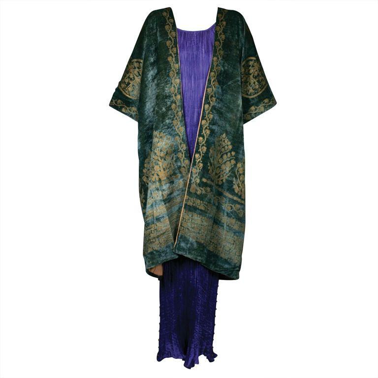 Mariano Fortuny Green Stencilled Velvet Long Coat.
