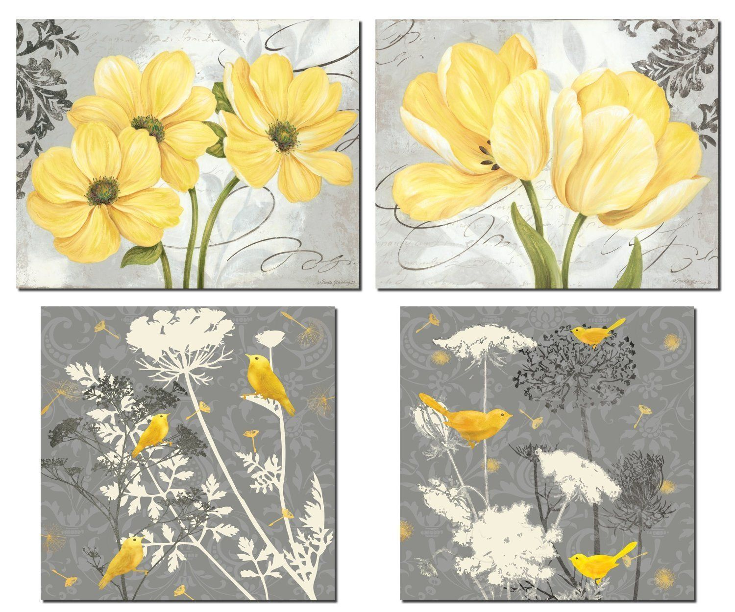 Amazon Beautiful Grey Yellow Poster Set Birds And Flowers