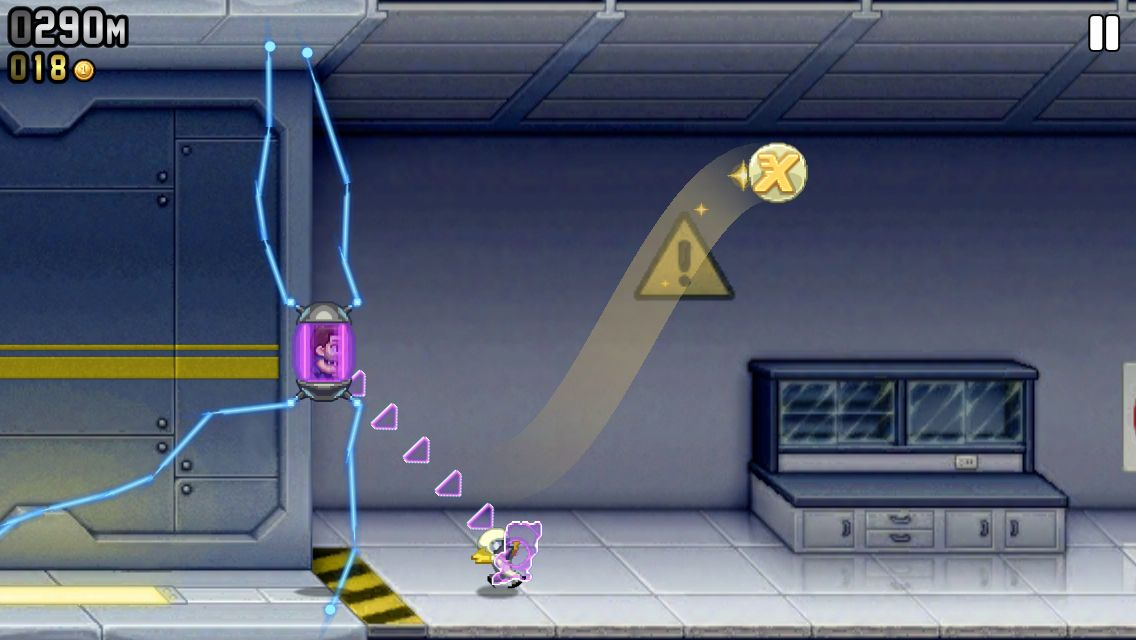 A screenshot of Jetpack Joyride that I took myself.