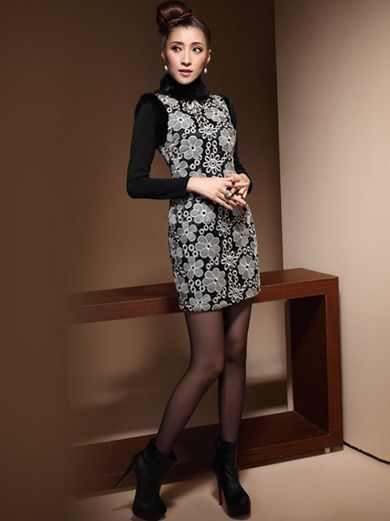 Gray Floral Short Sleeve Qipao / Cheongsam / Chinese Dress for Winter