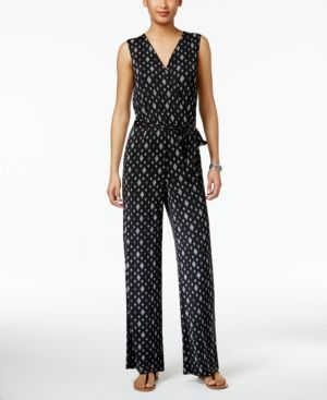 f33f9f655f Ny Collection Petite Printed Surplice Jumpsuit - Blue P XL