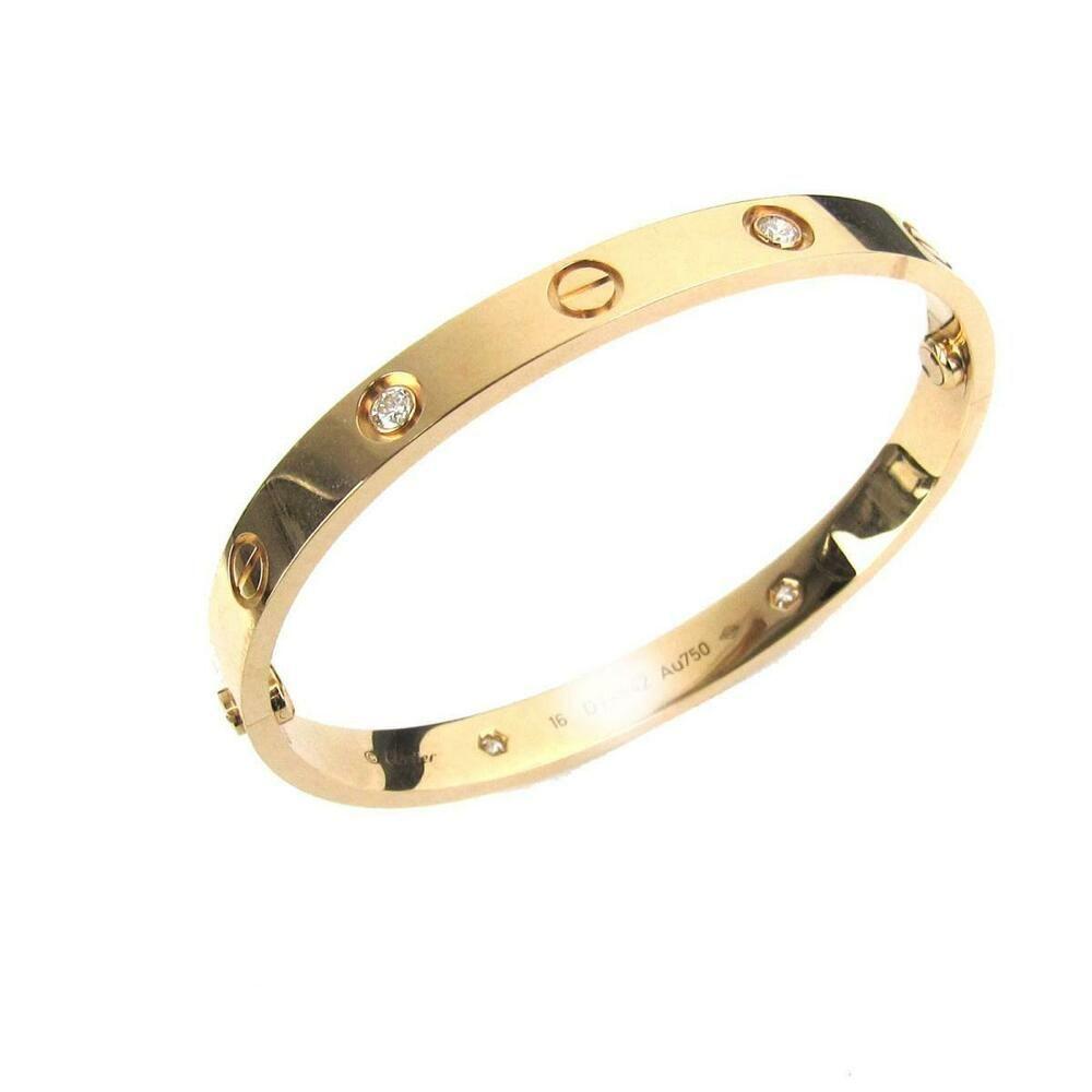 9b0f5b602a4e1 eBay #Sponsored Authentic Cartier Love Bracelet Bangle 4 Diamond 18K ...