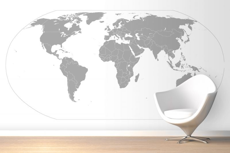 Grey curved world map wallpaper mural i decor pinterest grey curved world map wallpaper mural gumiabroncs Images