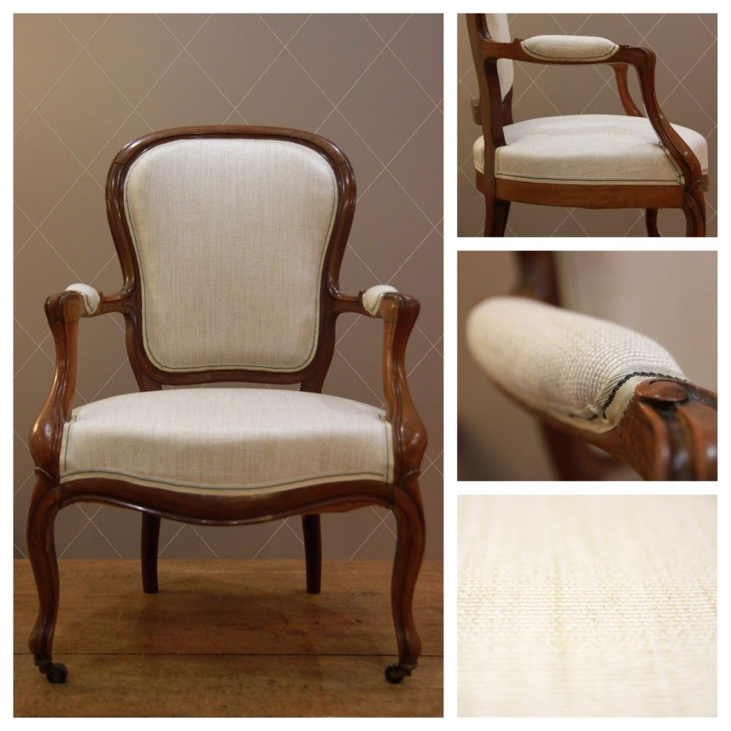 Chaise style louis philippe en lin beige caramel atelier for Chaise voltaire