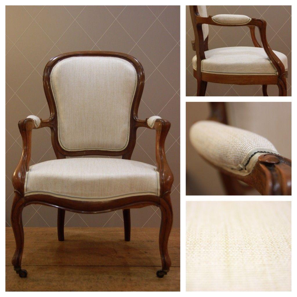 Chaise style Louis Philippe en Lin Beige Caramel - Atelier MD2 ...