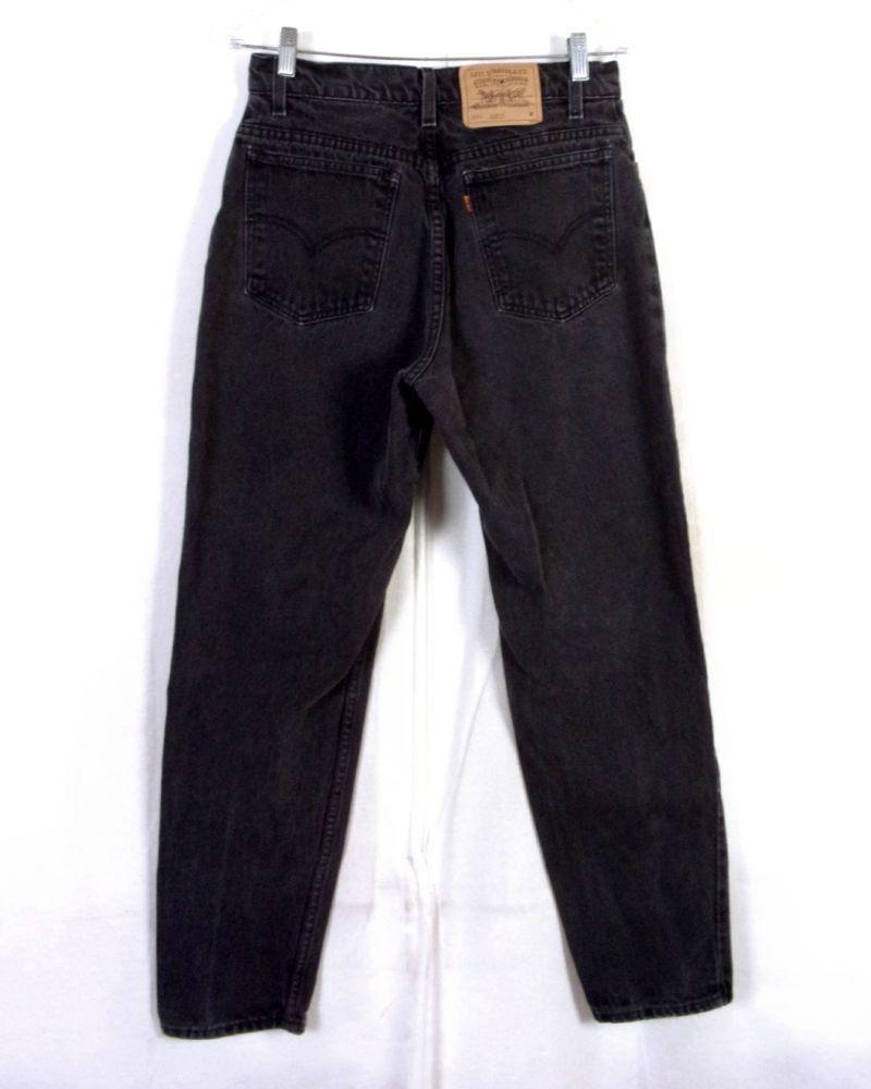 Vtg 80s Levis 951 Relaxed Tapered Orange Tab Denim Mom Jeans Black