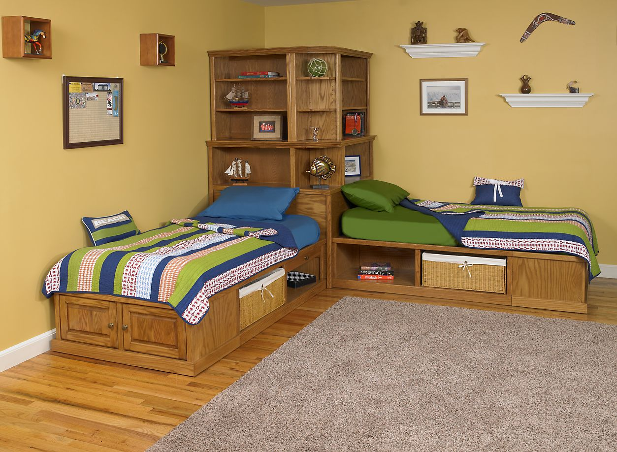 Corner cubby bed available in maple or oak. Twin size