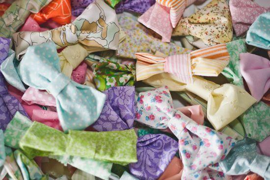 Rainbow + Bowtie WeddingIdeas - Blog - RENT MY DUST Vintage Rentals.  Love these hand made pastel bowties!