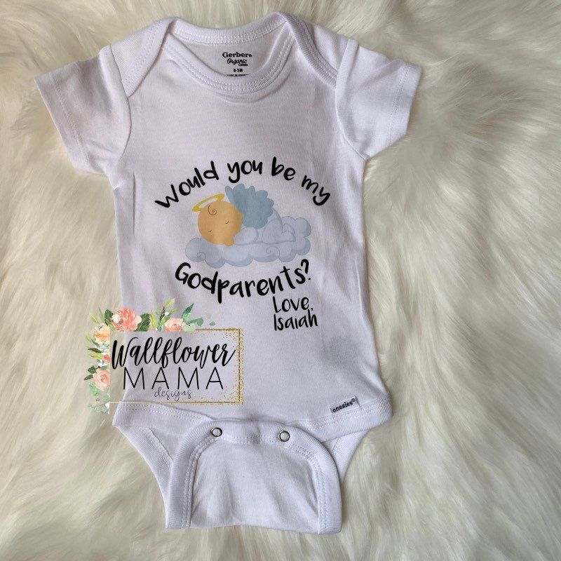 Will You Be My Godmother Embroidered Baby Vest Gift Personalised Godparent