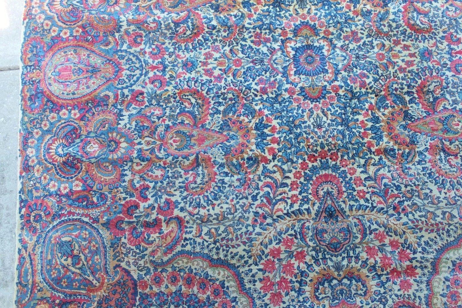 Rare 1930s Antique Persian Kerman Rug 8 6 X11 Spectacular Paisley Vibrant