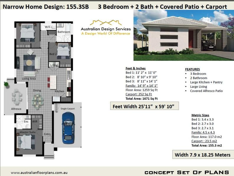 Narrow Land Concept Home Plans For Sale 117 M2 Or 1259 Sq Etsy In 2021 Small House Design Three Bedroom House Plan House Plans