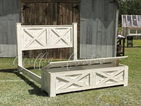Photo of THE YULEE barn door style storage bed frame,  #barn #Bed #door #farmhousebed #Frame #Storage …