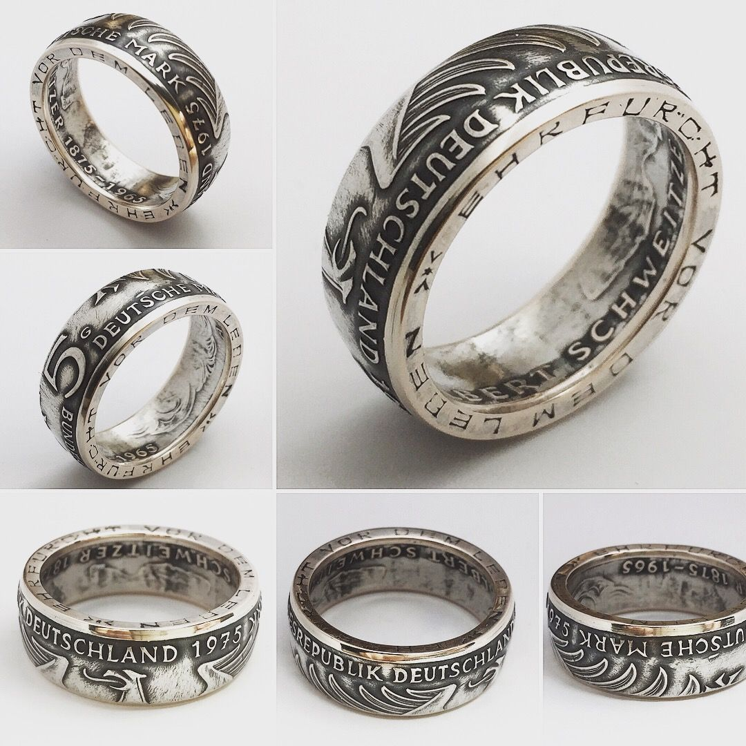 German silver coin ring. This ring made of coin 5 Mark