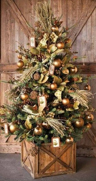 Mountain House Rustic Christmas Tree in shades of gold christmas
