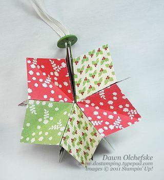 stampin up, dostamping, dawn olchefske, demonstrator,  paper folded star ornament