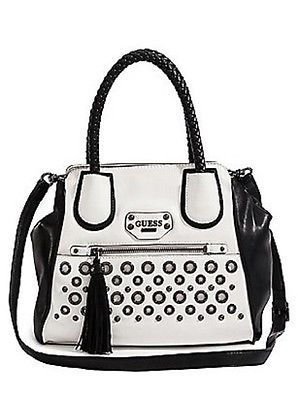 NWT GUESS Jodi Small Satchel Handbag Purse Black White VM436631