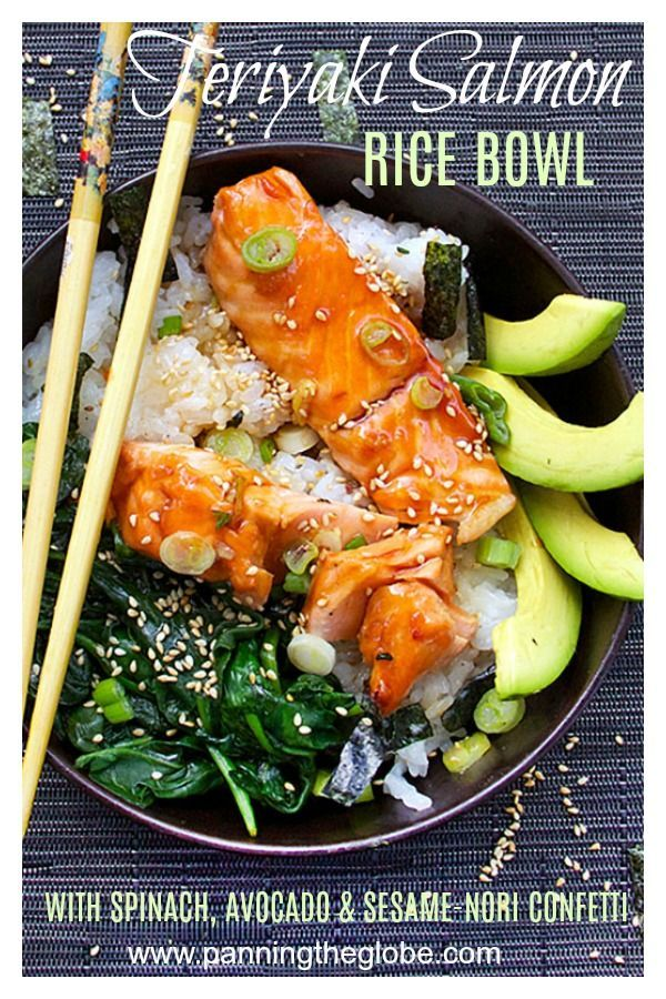 Teriyaki Salmon Rice Bowl with Spinach & Avocado #teriyakisalmon