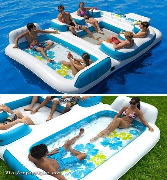 Party Island Beach: Inflatable 6-person Pool Raft