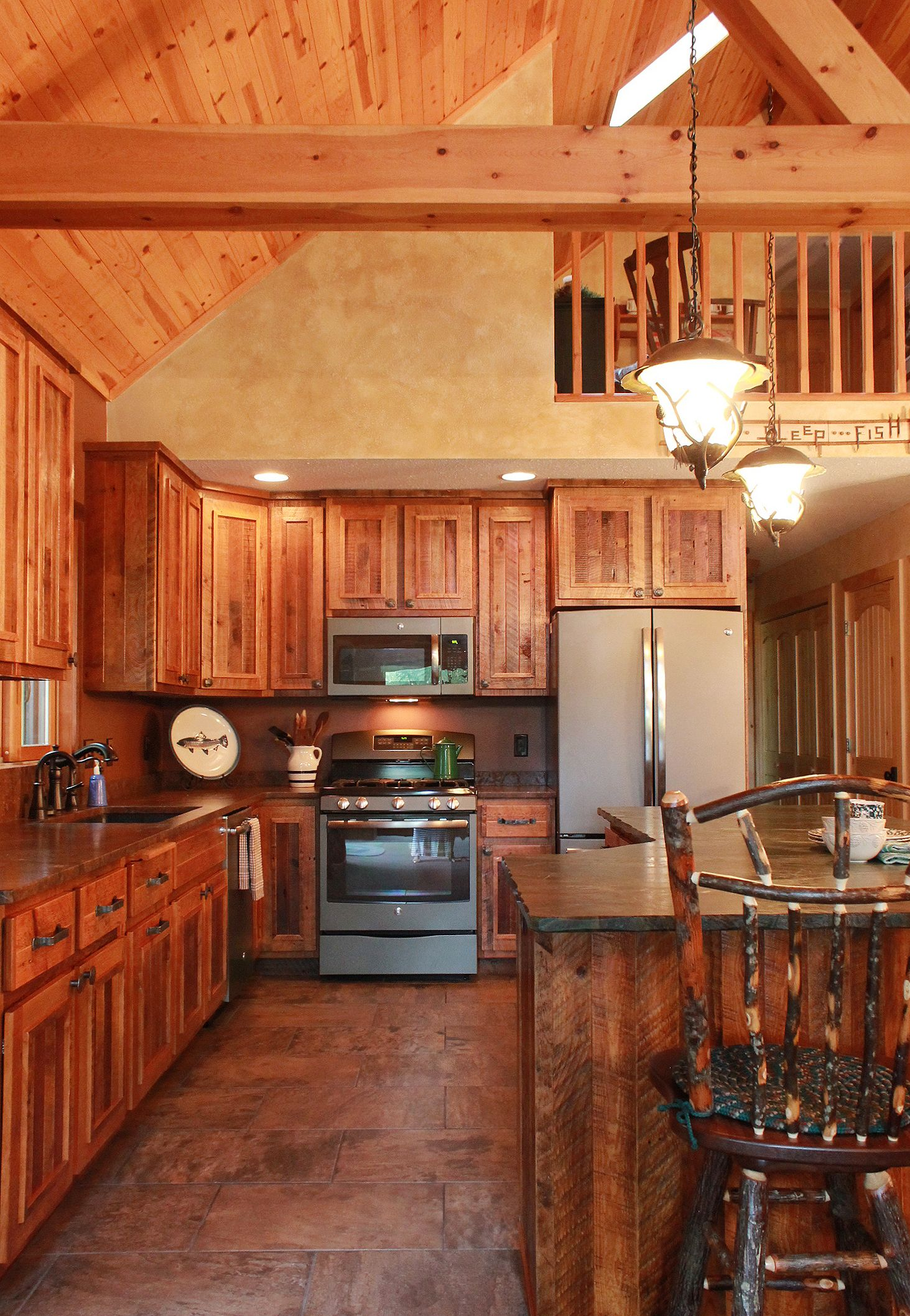 This Rustic Kitchen Is From A Wisconsin Log Home. These Custom Made Kitchen  Cabinets