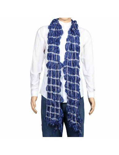 Idée cadeau noël hommes - Écharpe en laine gauffrée et effet froissé motifs design - Étole fashion bleue et blanche 30 x 152 cm: Amazon.fr: Vêtements et accessoires
