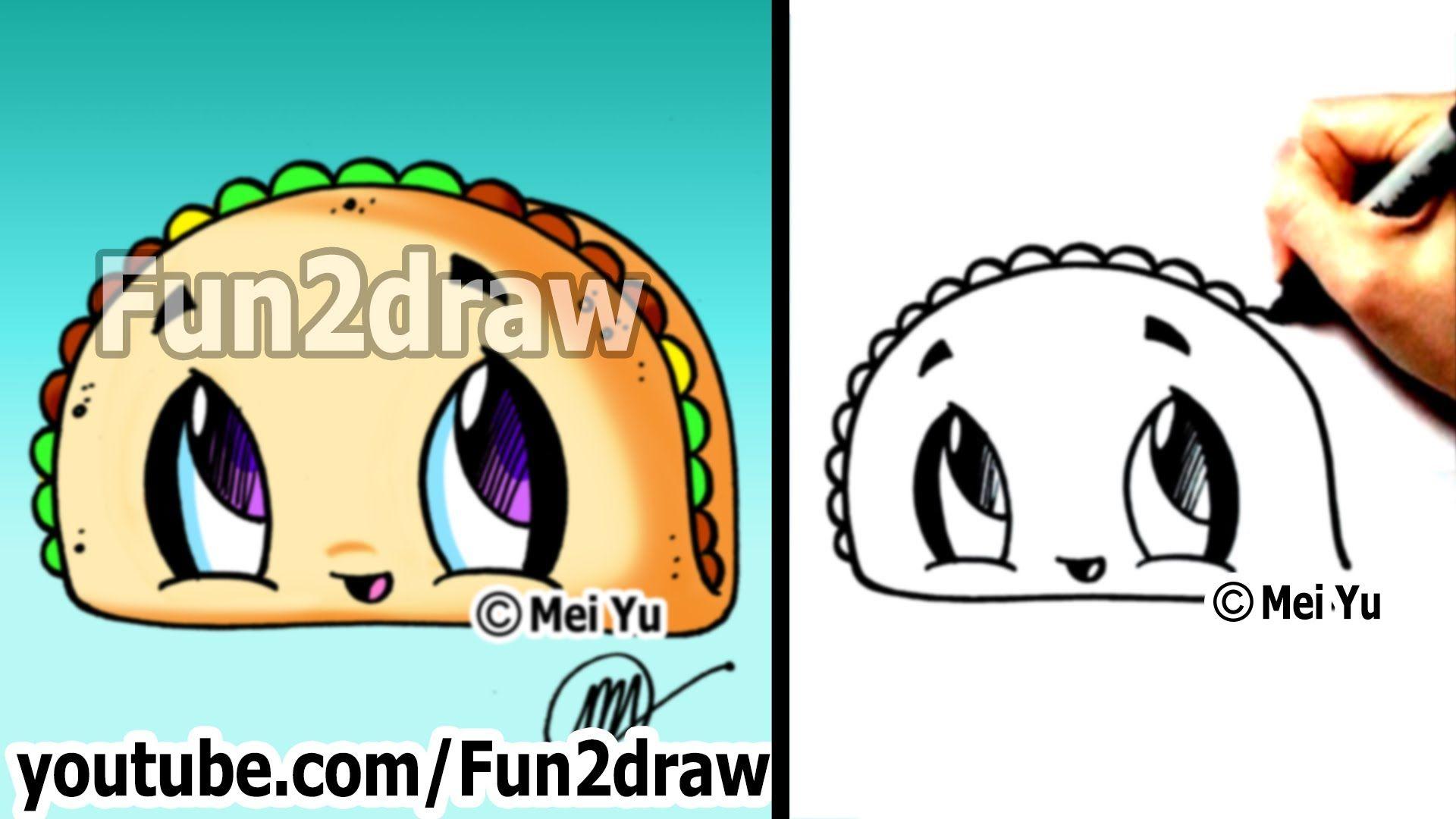 Cute Easy Drawings - How to Draw Cartoon Food - Taco - dibujos ...