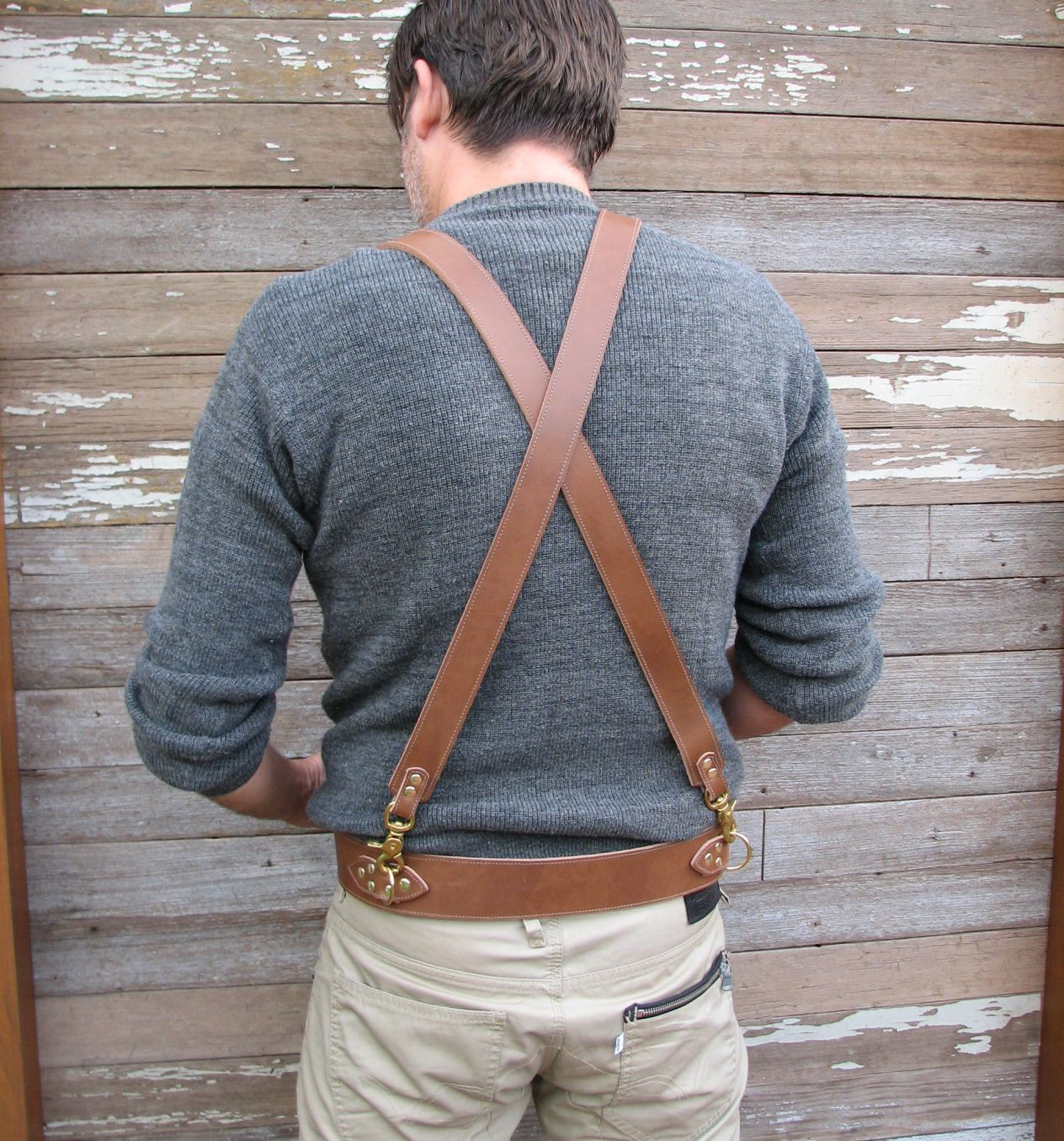 Handmade Mens Leather Suspenders Steampunk with Brass Hardware