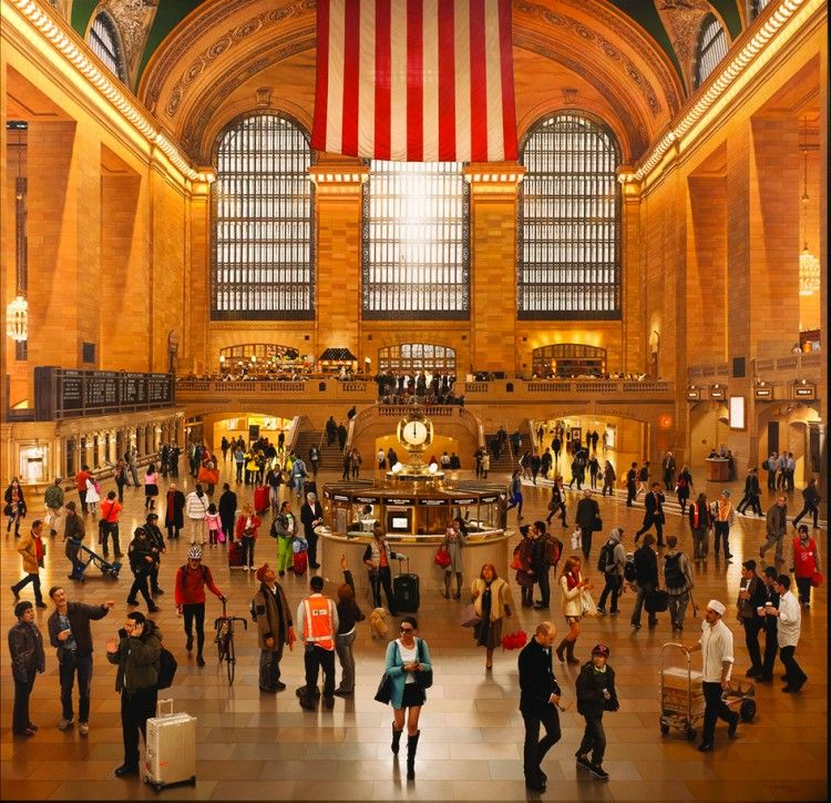 """""""Grand Central Terminal: An Early December Noon in the Main Concourse"""" by painter Stone Roberts"""