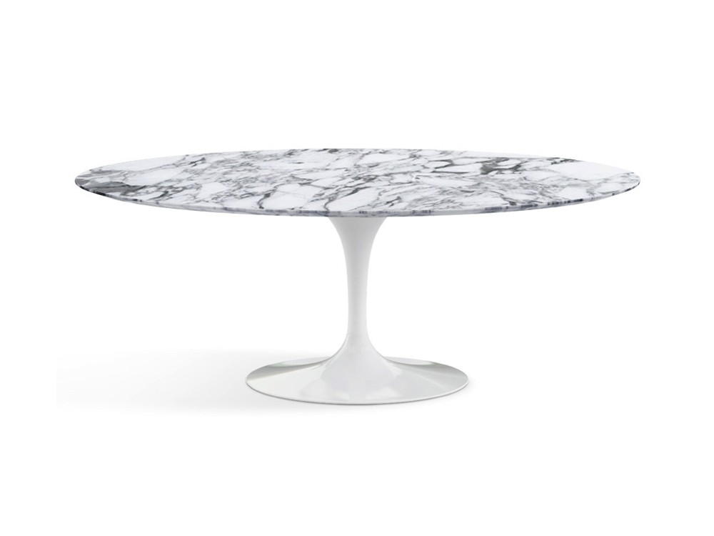 Knoll Saarinen Tulip Oval Dining Table White Base Arabescato Marble Top In 2020 Oval Table Dining Arabescato Marble Dining Table