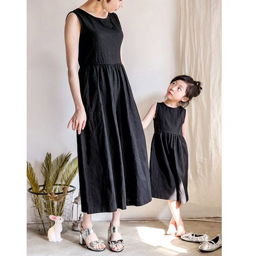 f16d147fe9a1f リネン風サロペット(ブラック)FOR MAMA -Tシャツ- 女の子 男の子 海外 ...
