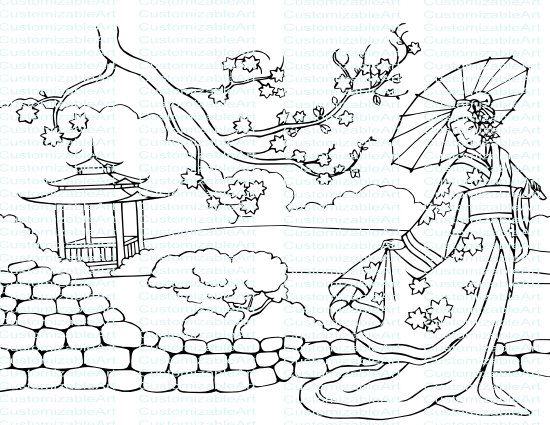 Oriental Lady Drawing Coloring Page Picture Traditional National ...