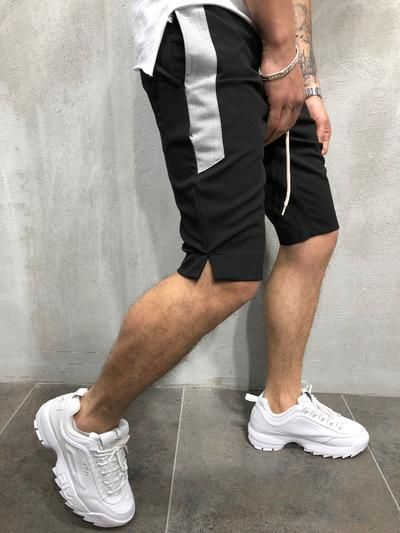 Striped Shorts Streetwear Side Stripes Waistband and Drawstring Casual 3865