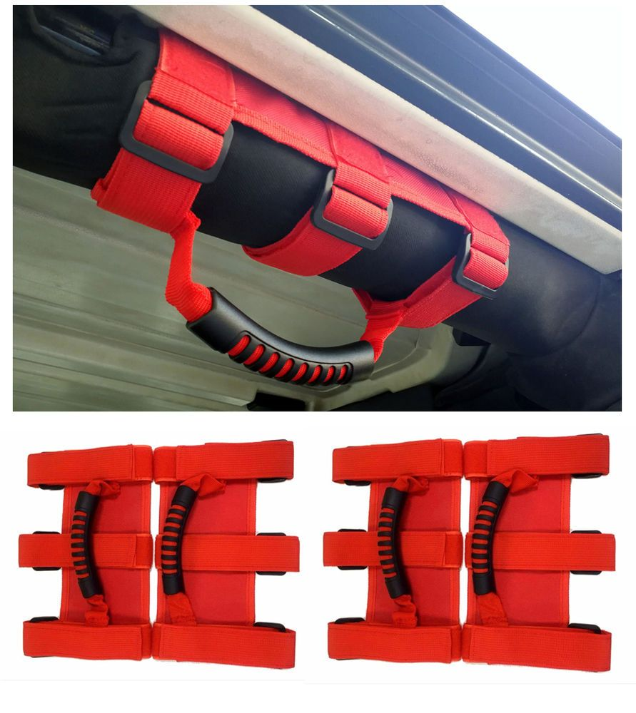 Car Interior Grab Handles Grips Grab Bar Red For Jeep Wrangler 95
