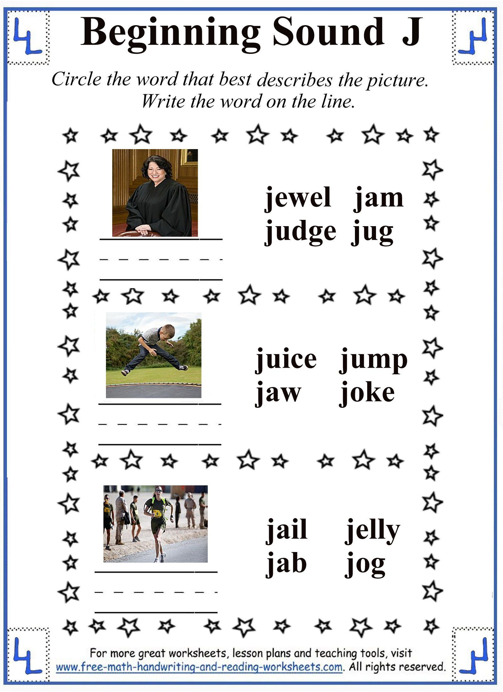 Beginning Sounds Worksheets For Kindergarten In