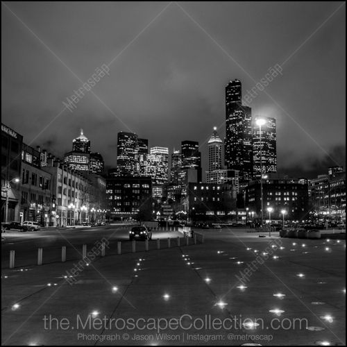 Black and White Picture of The Seattle Skyline from Century Link ...