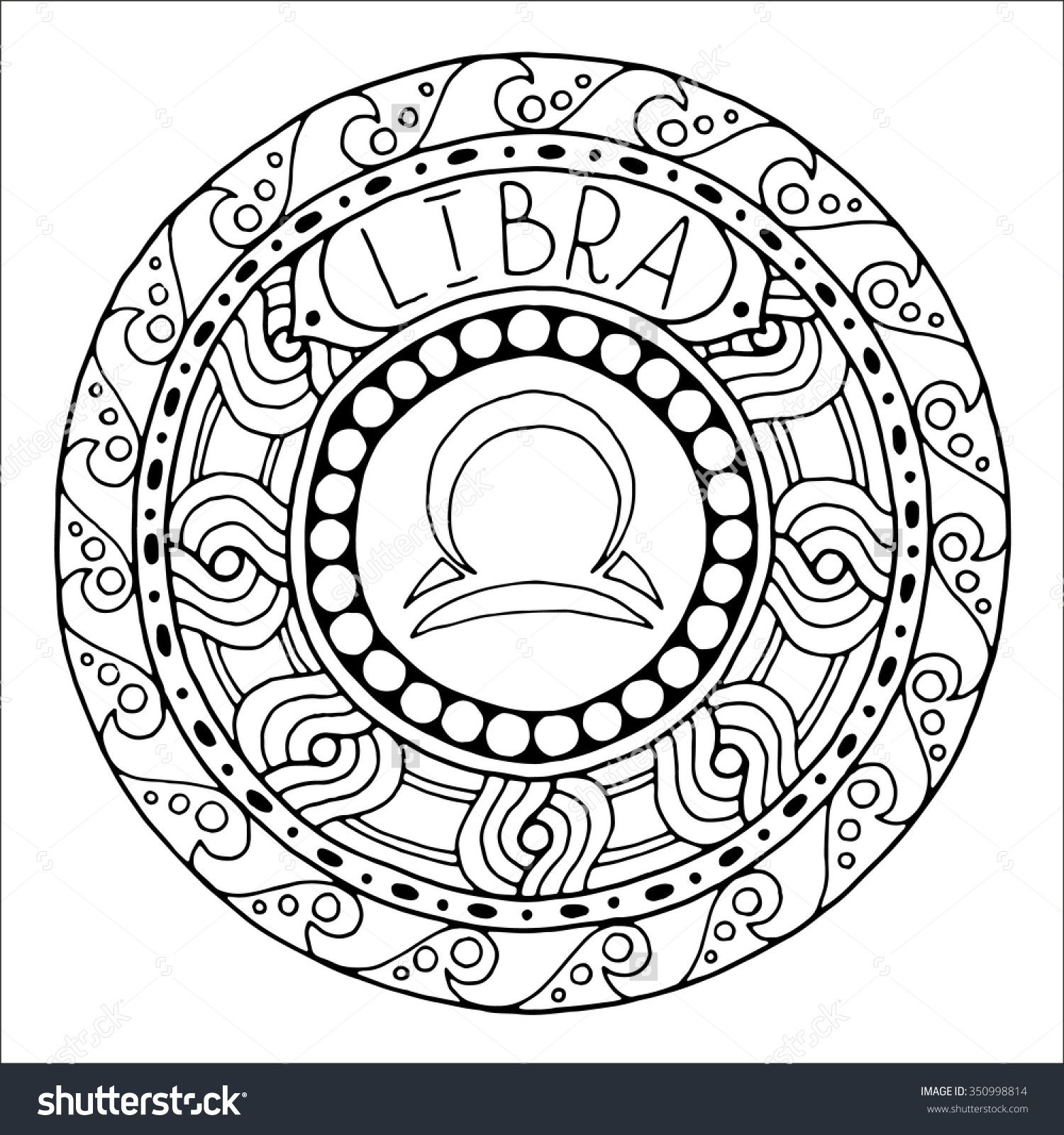 Free printable zodiac coloring pages - Horoscope And Zodiacal Template Can Be Used For Magazine Coloring Book Hand Drawn Doodle Circle