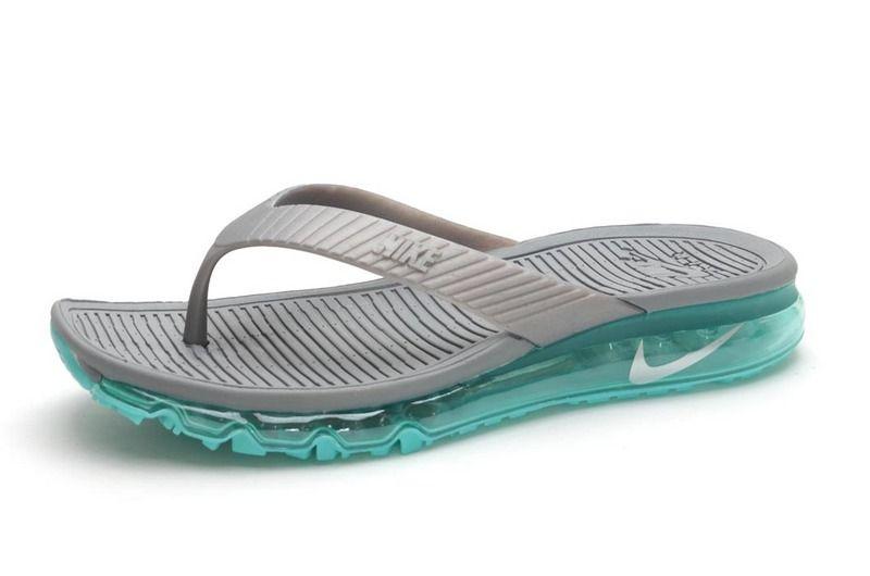 d1f5ae6119ac Men Nike Air Max Flip Flops Cheap Nike Sandals Cheap Slides Gray Green
