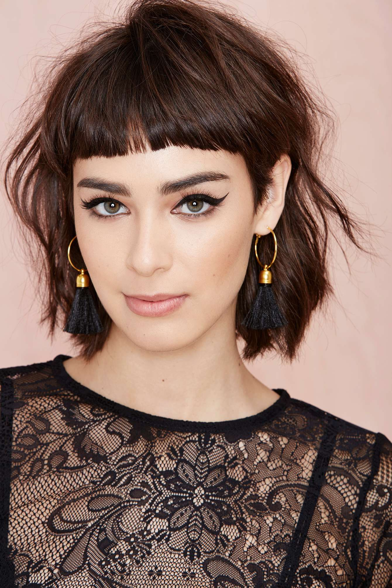Suzywan Deluxe Andrea Hoop Earrings  Short hair with bangs, Short
