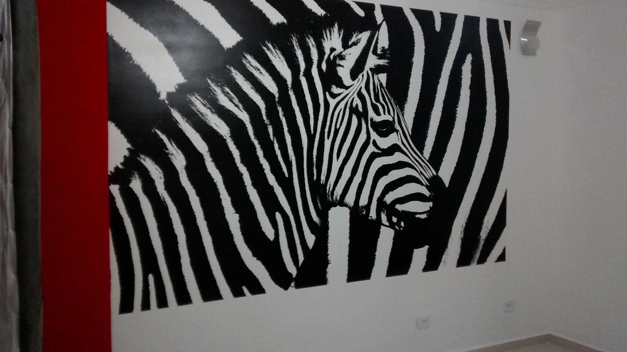 Parede De Sala Pintada Com Arte Zebra Pintura Residencial Pinterest -> Arte Parede Sala