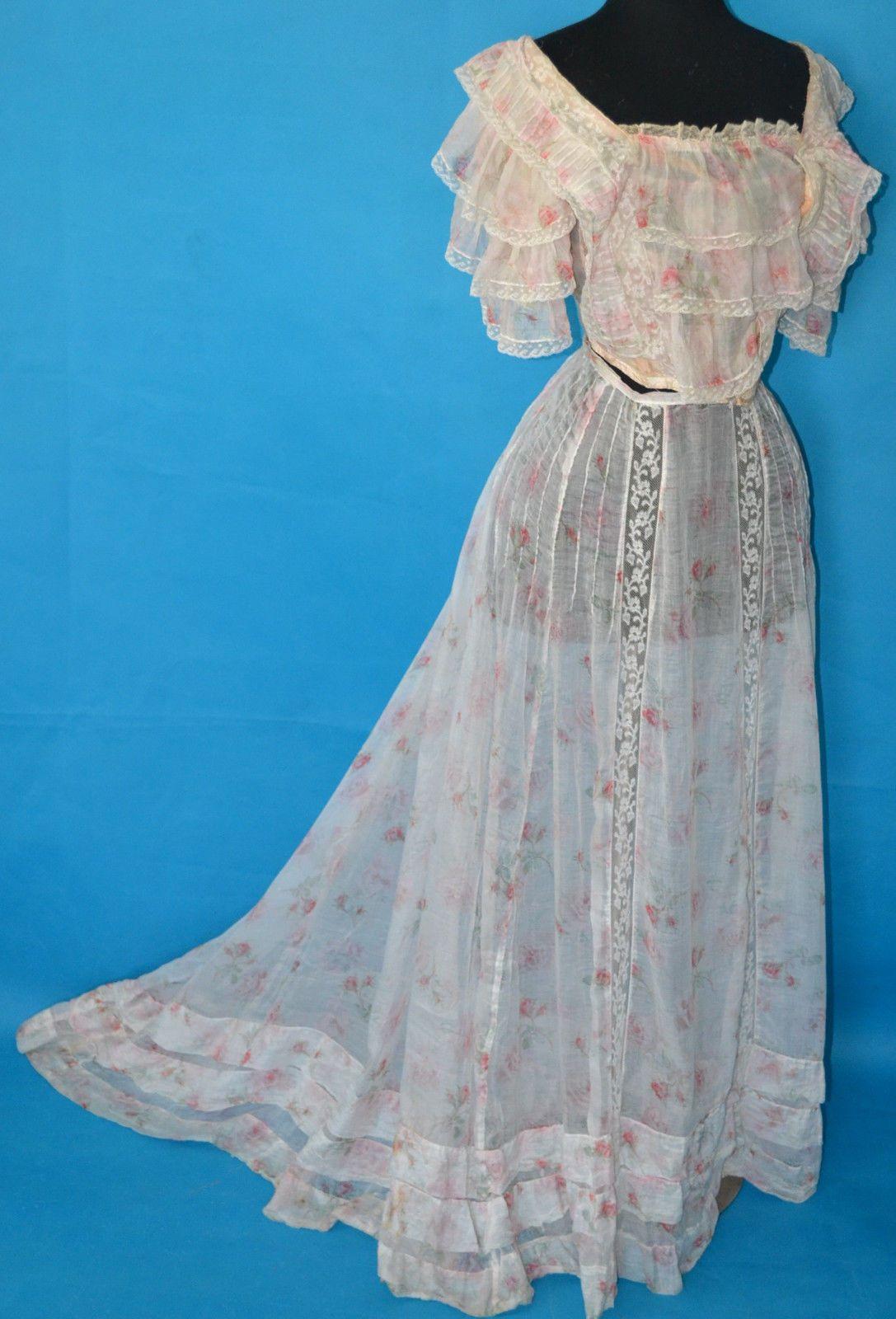 Most Romantic Antique 1900's Victorian Cabbage Rose Lace Bustle Dress Old Corset | eBay