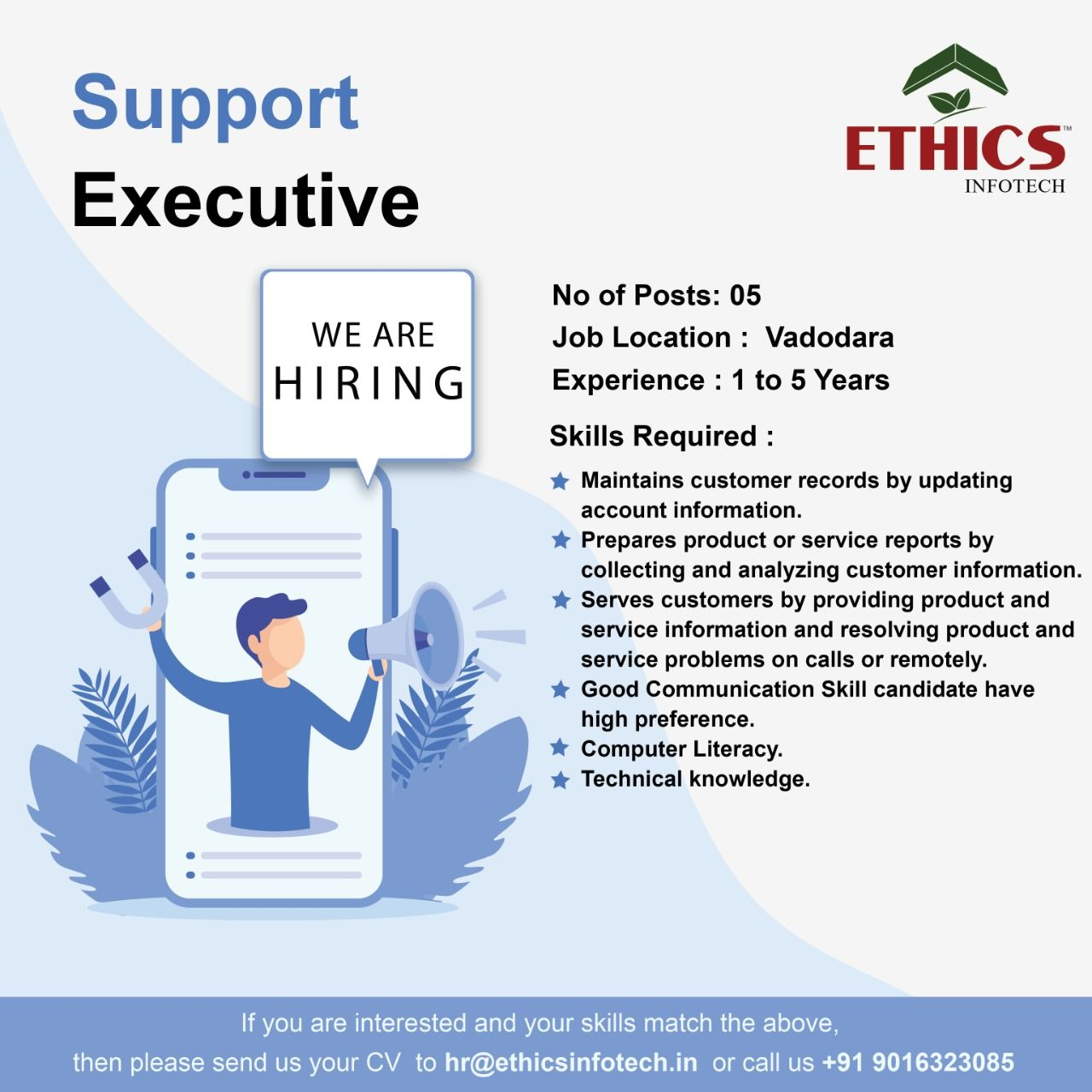 We Are Hiring Join Us Drop Your Resume Hr Ethicsinfotech In Or Call Us 91 9016323085 Employment Jobs In 2020 We Are Hiring Job Search Accounting Information