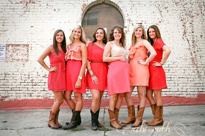 Full length pose group of best friends in coral dresses for Best group pictures
