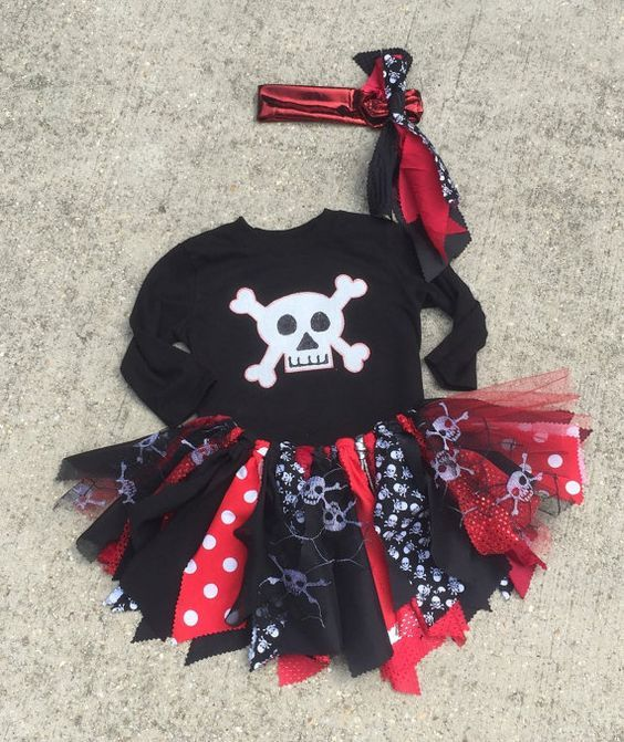 Girl pirate costume Pirate Princess Tutu - cruise clothes, pirate Tutu, shabby chic pirate fabric tutu skirt - Choose your size #summercruiseoutfits